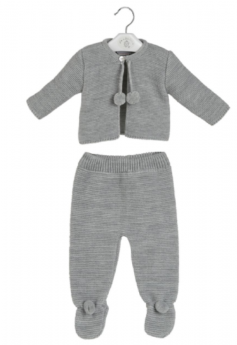 Stunning Baby Long Sleeve Grey Pom Pom Jacket &Trousers